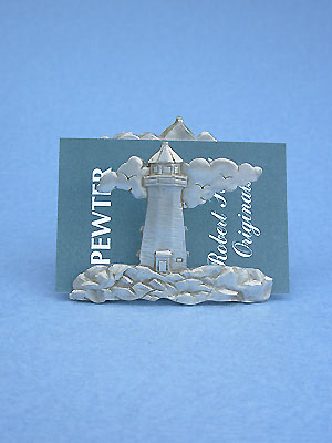 Lighthouse w/Cloud Business Card Holder -Lead Free Pewter