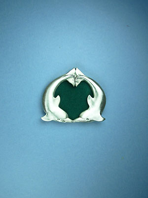"""2"""" Round Dolphin Picture Frame - Lead Free Pewter"""
