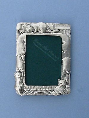 3.5x5 Kitten Picture Frame - Lead Free Pewter