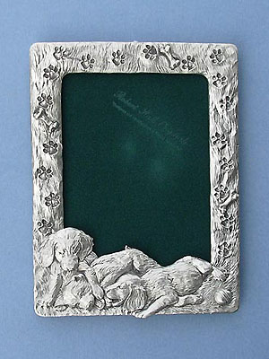 Retriever Picture Frame - Lead Free Pewter