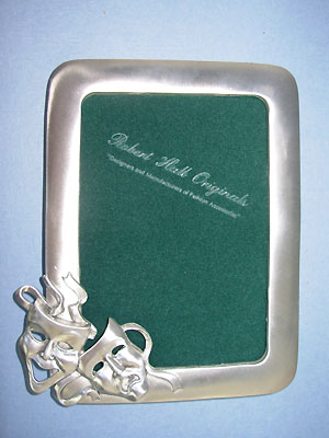 3.5x5 Comedy & Tragedy Picture Frame - Lead Free Pewter