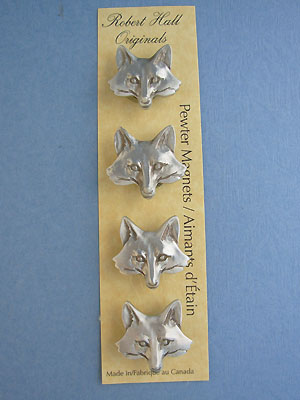 Fox Head Magnet Set - Lead Free Pewter