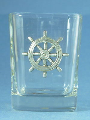 Ship's Wheel Shot Glass - Lead Free Pewter