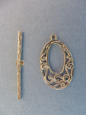 Oval Scroll Toggle - Lead Free Pewter