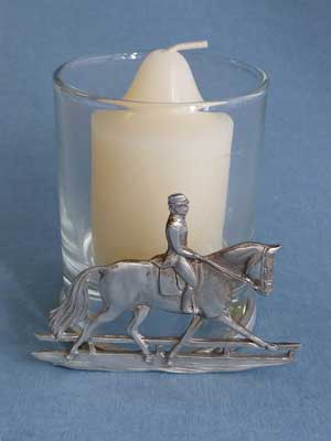 Dressage Two Piece Votive Holder - Lead Free Pewter