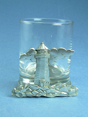 Lighthouse With Cloud Two Piece Votive Holder - Lead Free Pewter
