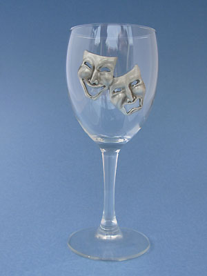 Comedy & Tragedy Wine Glass - Lead Free Pewter