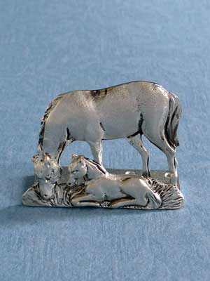 Lead Free Pewter Mare & Foal Connector