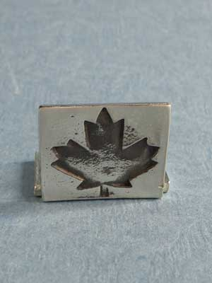 Lead Free Pewter Maple Leaf Rectangle Connector