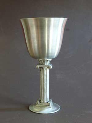 6 oz Roman Column Bright Polish Finish Lead Free Pewter Goblet