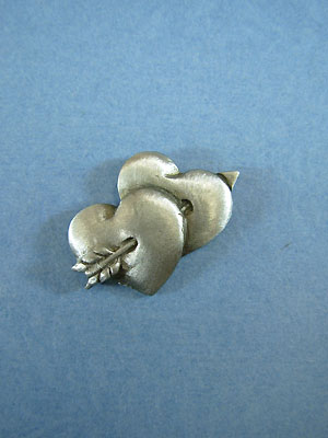 Double Heart Lapel Pin - Lead Free Pewter