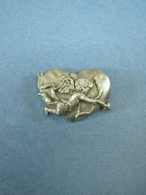 Heart with Cupid Lapel Pin - Lead Free Pewter