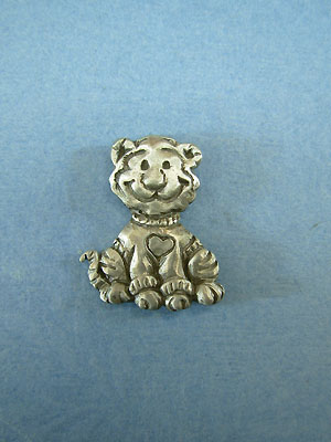 Tiger with heart sweater Lapel Pin - Lead Free Pewter