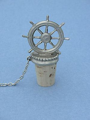 Ship's Wheel Wine Stopper - Lead Free Pewter