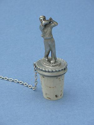Male Golfer Wine Stopper - Lead Free Pewter