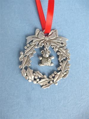 Wreath Ornament with Teddy Bear Charm