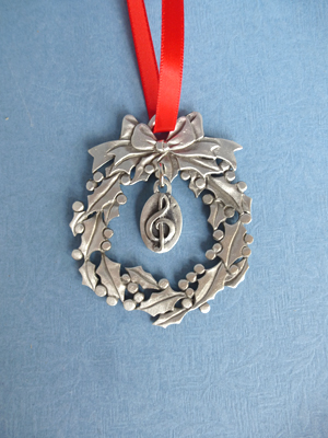 Wreath Ornament with Music Note Charm