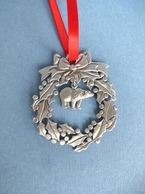 Wreath Ornament with Polar Bear Charm