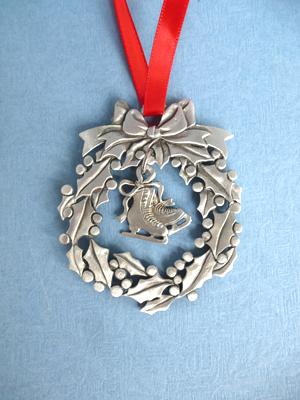 Wreath Ornament with Skates Charm