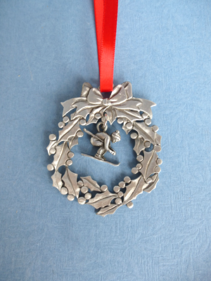 Wreath Ornament with Skier Charm