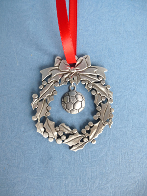 Wreath Ornament with Soccer Ball Charm
