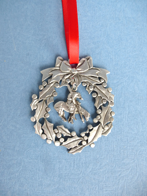 Wreath Ornament with Bucking Bronco Charm