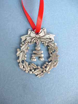 Wreath Ornament with Inukshuk Charm