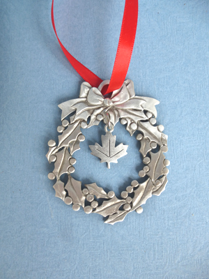 Wreath Ornament with Maple Leaf Charm