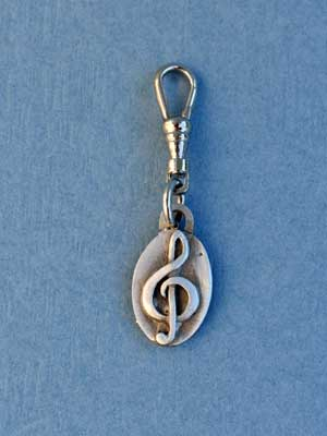 Treble Clef Zipper Puller - Lead Free Pewter