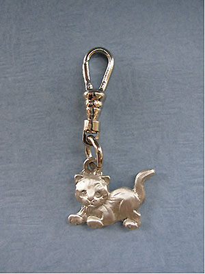 Playful Kitty Zipper Puller - Lead Free Pewter