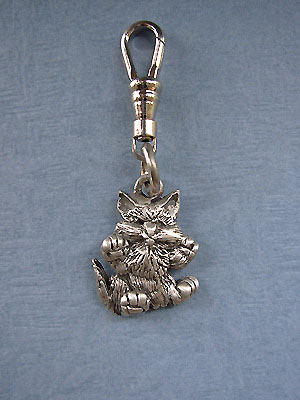 Kitten Front Zipper Puller - Lead Free Pewter