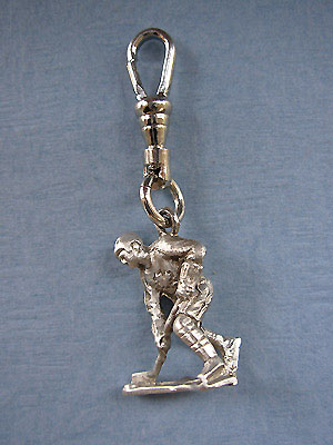Hockey Player Zipper Puller - Lead Free Pewter
