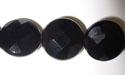 "15mm Facet Round Black Agate - 16"" Strand"