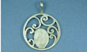 Small Fancy Scroll Pendant - Lead Free Pewter