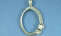 Oval Scroll with two circles pewter setting - Lead Free Pewter