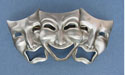 Comedy & Tragedy Barrette - Lead Free Pewter
