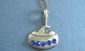 """Curling rock with Rhinestones - Lead Free Pewter c/w 18"""" Chain"""