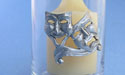 Comedy & Tragedy Glass Votive - Lead Free Pewter