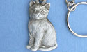 Cat Key Chain - Lead Free Pewter