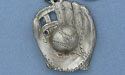 Baseball Glove and Ball Keychain - Lead Free Pewter