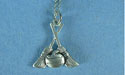 "Curling Rock and Broom Lead Free Pewter Pendant c/w 18"" Chain"