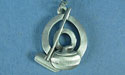 "Curling Rock and Broom in Circle Lead Free Pewter Pendant c/w 18"" Chain"