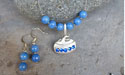 Curling Rock with Rhinestones Beaded Necklace - Lead Free Pewter