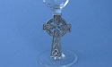 Celtic Cross on Stem of Champagne Glass - Lead Free Pewter