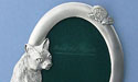 5x7 Oval Cat Picture Frame - Lead Free Pewter