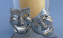 Comedy & Tragedy Two Piece Votive Holder - Lead Free Pewter