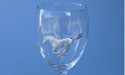 Mustang on Wine Glass - Lead Free Pewter