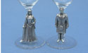 Highland Bride & Groom on Wine Glass Stem - Lead Free Peweter - Pair
